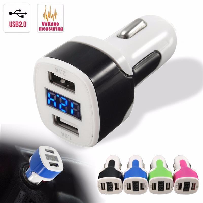 Quick Charge Car Charger 12-24V 3.1A Dual USB Port LED Display Cigarette Lighter Phone Adapter Car Voltage Diagnostic