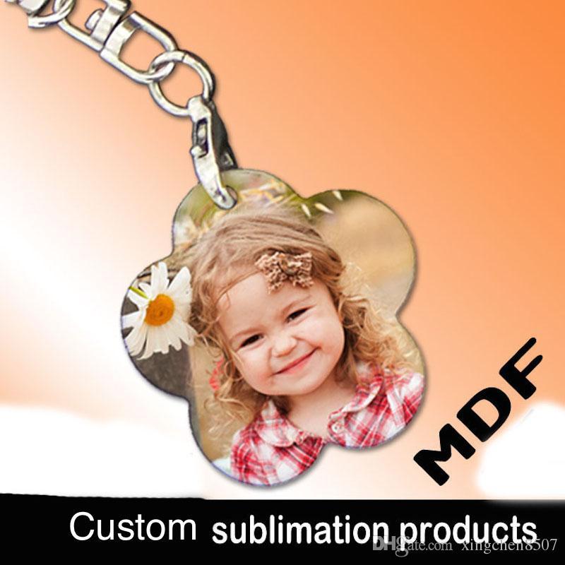 Sublimação em branco MDF chaveiro de madeira saco pingentes de presente para as crianças pode imprimir imagem da foto personalizado empresa presente personalidade design