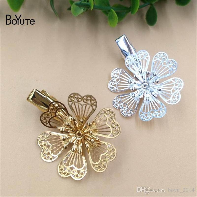 BoYuTe 10 Stücke 32 MM HEIßER verkauf Filigrane Blume Haarspange Pin Frauen Silber Gold Haar DIY Schmuck Zubehör