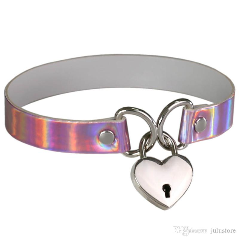 Fashion Heart Shape Lock Charms holographic choker Necklace PU Leather Chocker Collar Punk Gothic Necklace for Women Maxi jewelry Bijoux
