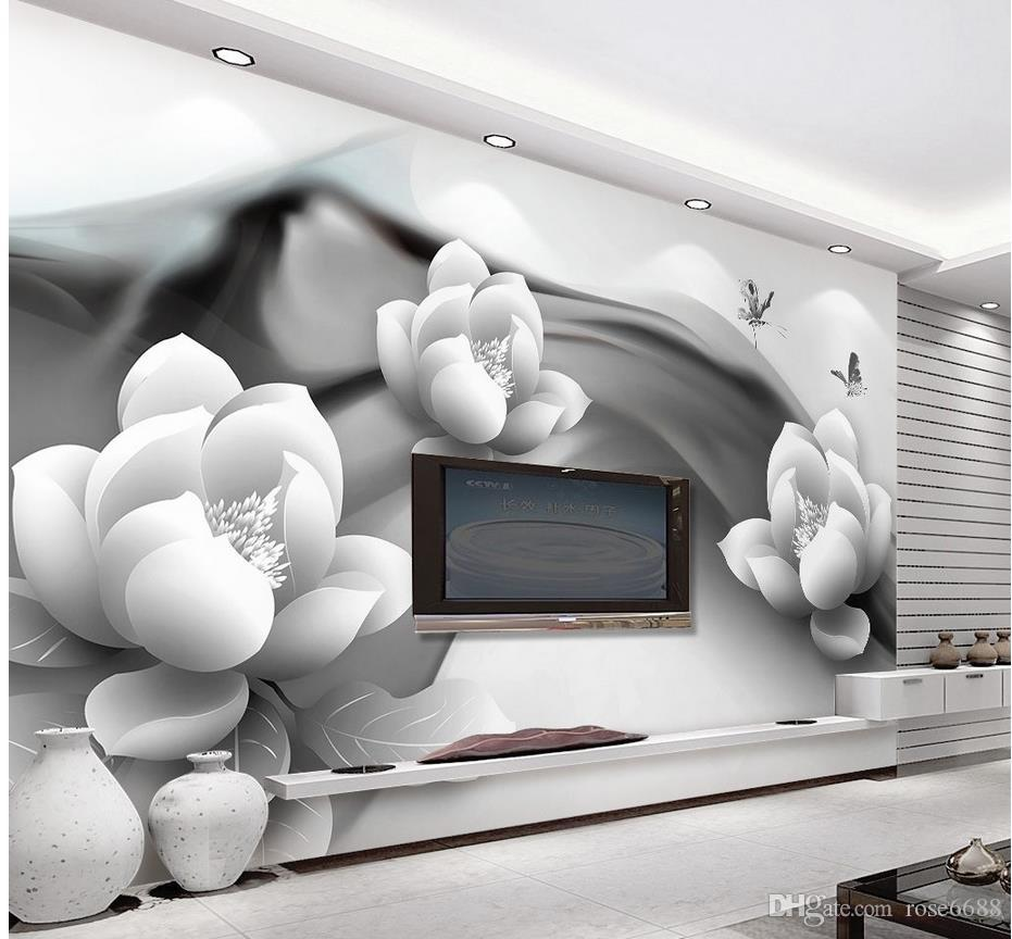 Black and white ink lotus butterfly simple 3 d tv setting for White 3d wallpaper for walls