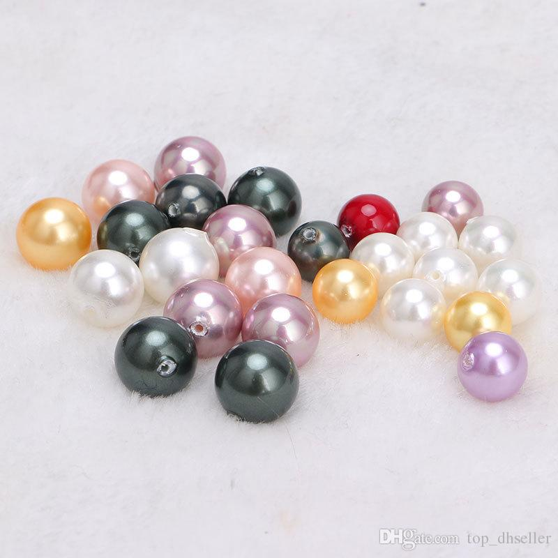 Multicolor 4mm 6mm 8mmDIY handmade beaded jewelry accessories material Shellfish shell imitation pearls scattered beads with holes beadsD120