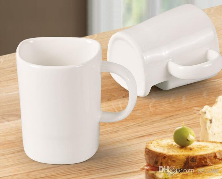 Buon prezzo 250ml tazza di caffè in ceramica laterale biscotto biscotto tasca titolare succo di latte tazza di limone bicchieri amico regalo di compleanno
