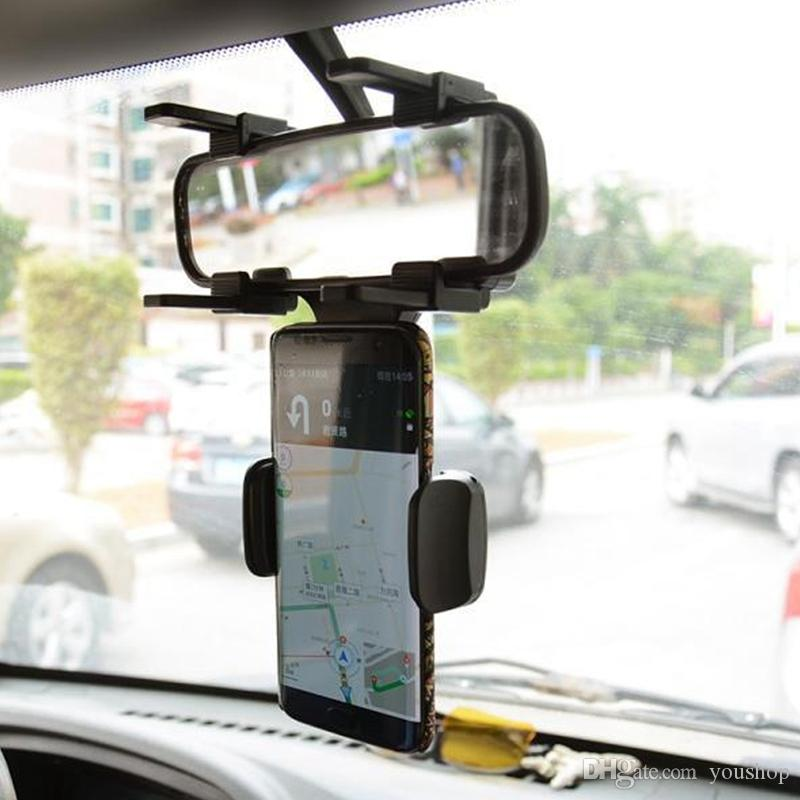 Car Rearview Mirror Mount Truck Auto Bracket Cell Phone Holder Cradle for iphone 7 7 Plus 6S for Samsung S8 GPS