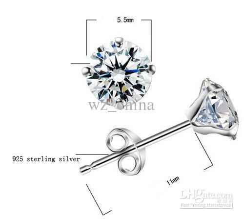 Artificial Diamond Earrings Charm 925 Sterling Silver Stud Earrings AAA+ Austrian Crystal Rhinestone Gold Plating New Wedding Jewelry