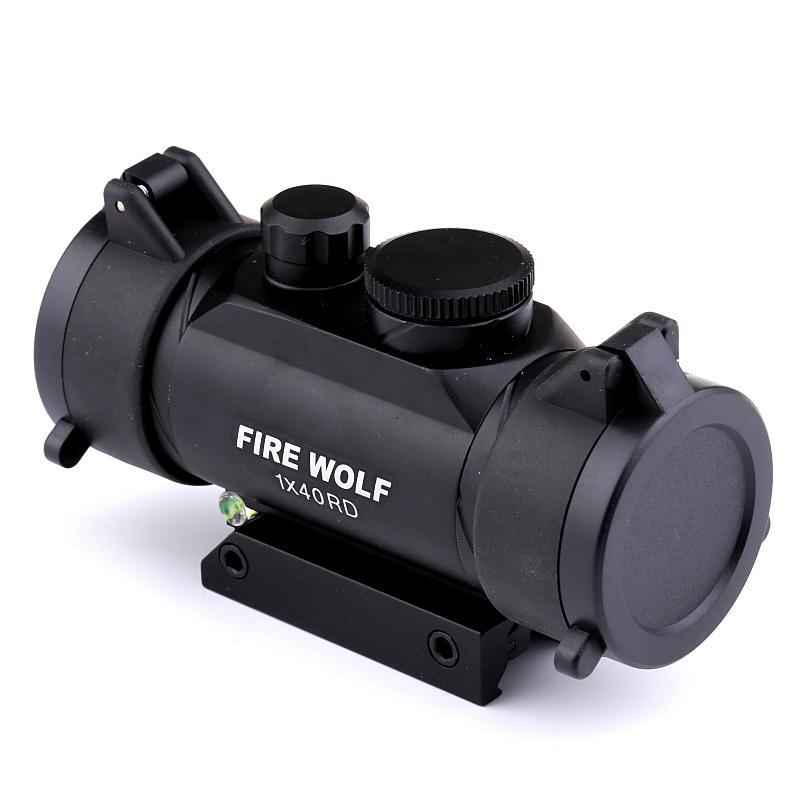 2017 NOUVEAU FEU LOUP 1X40 chasse tactique Holographic Fusil Red Dot Sight Portée avec Niveau à bulle Instruments optiques
