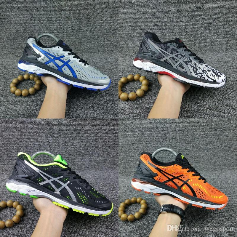 hot sale online dba92 ad626 2019 Asics Gel-Kayano 23 Original Running Shoes Black Orange Blue Men Women  Designer Shoes Athletic Sport Sneakers Size 36-45