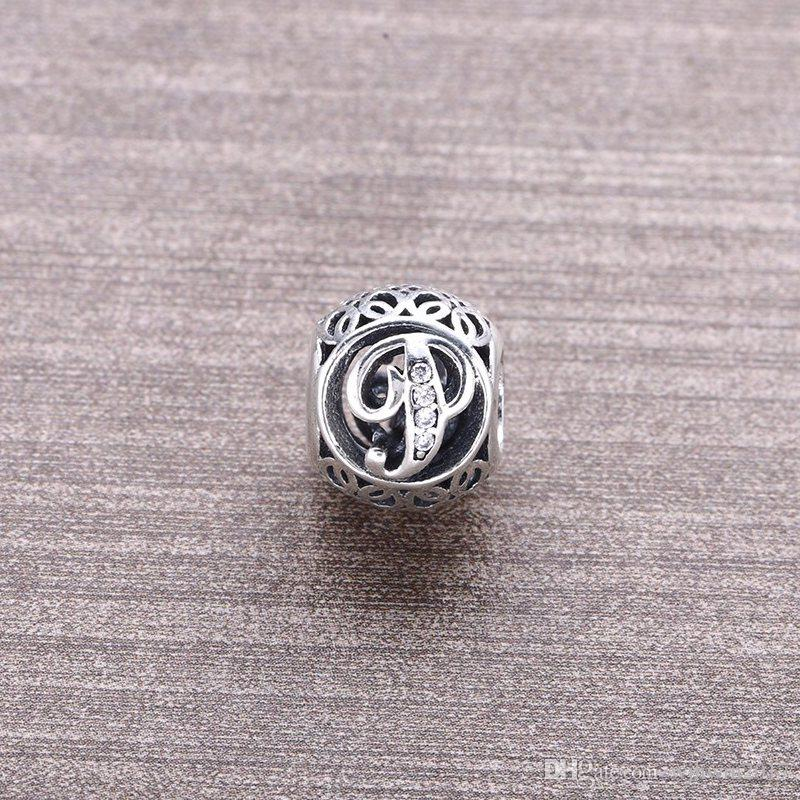 Letter P Silver Bead Charms Fit Pandora Snake Chain & Bracelet Europe Popular 925 Sterling Silver Beads For Woman DIY Jewelry