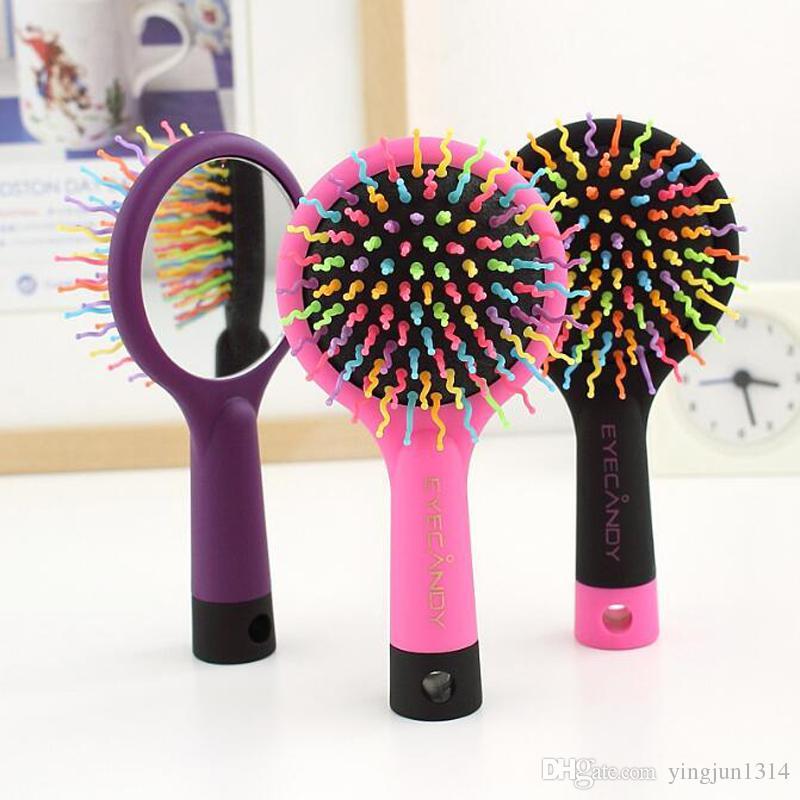 Sıcak Gökkuşağı Hacim Anti-statik Sihirli Saç Curl Düz Masaj Tarak Fırça Şekillendirici Araçları Ile Ayna ücretsiz kargo