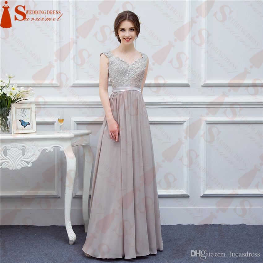 High Quality Real Image Beads Grey Color Bridesmaid Dresses 2018 New