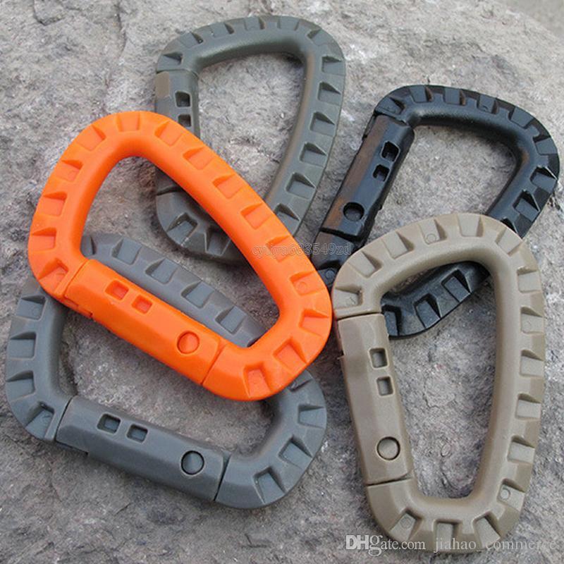 D forma alpinismo hebilla broche de presión de plástico de acero escalada Mosquetón colgante llavero gancho apto ejército al aire libre EDC
