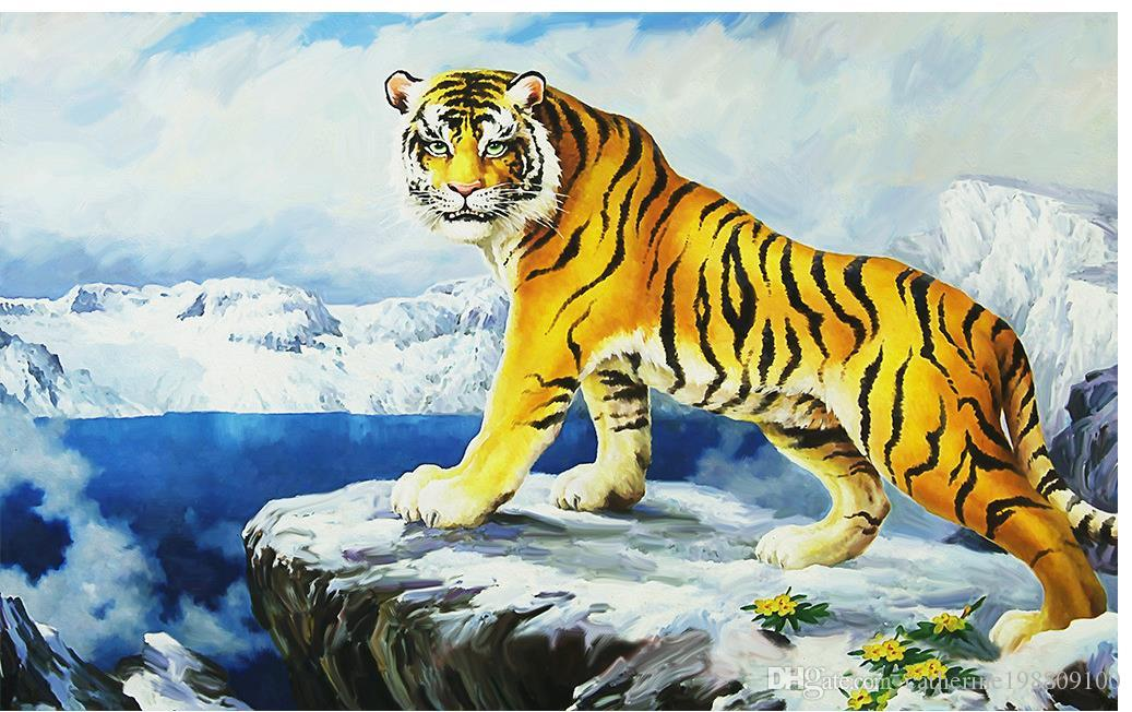 Custom Any Size Forest Tiger Tv Wall Decoration Painting Mural 3d