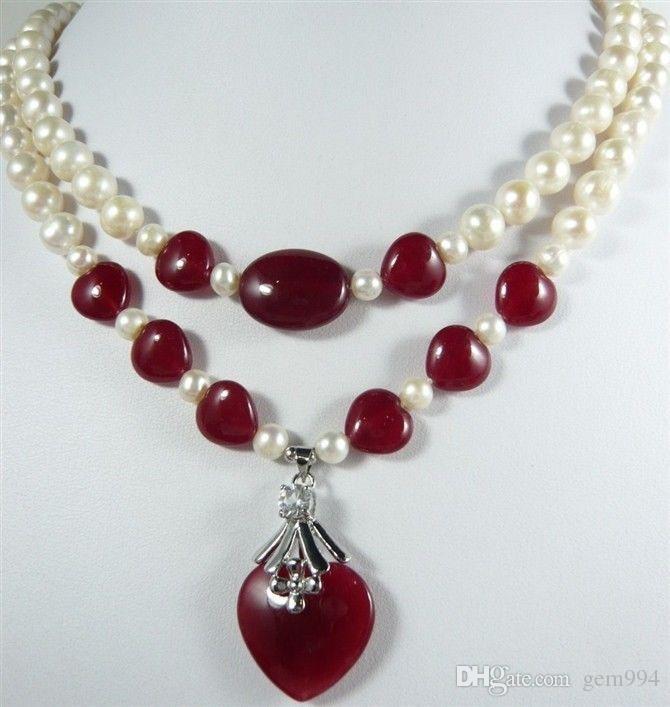 20b7946e58ab Compre Collar De Perlas De Agua Dulce Genuino 7 8MM Rojo Natural Colgante  De Jaspe En Forma De Corazón Rojo A  22.1 Del Gem994