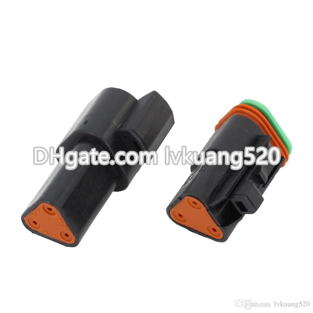 Black 3 Pin DT04-3P/DT06-3S Automobile waterproof wire electrical Deutsch Connector plug 22-16AWG