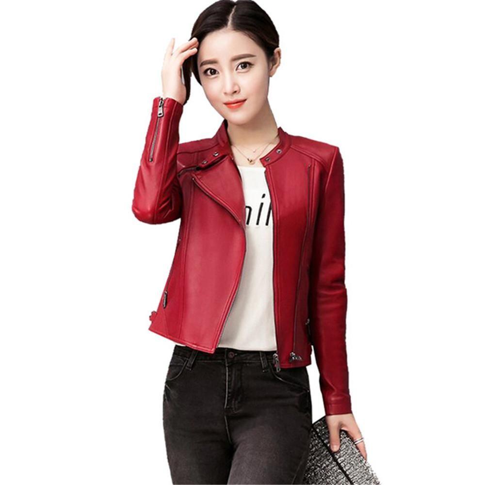 89682c3ae24 New Women Faux Leather Jacket Plus Size 4XL Ladies Leather Jackets ...