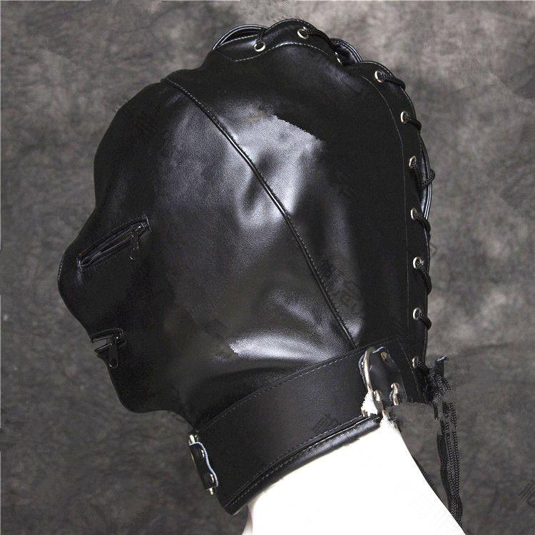 head hood bdsm bondage gear restraints slave training black pu face head mask with zipper adult sex toys for women GN312400023