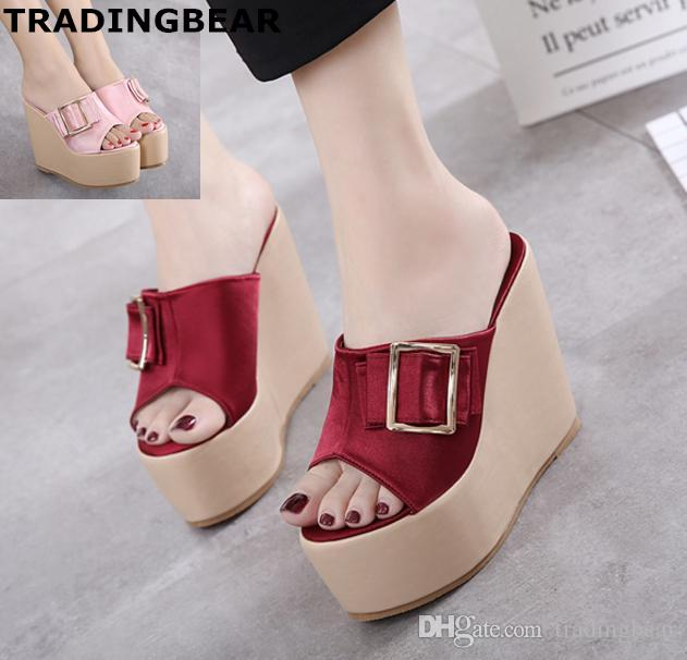 e6ca57a7c12c Sexy Ladies Wedge Sandals With Buckle Pink Wine Red Satin High Heels Shoes  Size 34 To 39 Mens Sandals Reef Sandals From Tradingbear