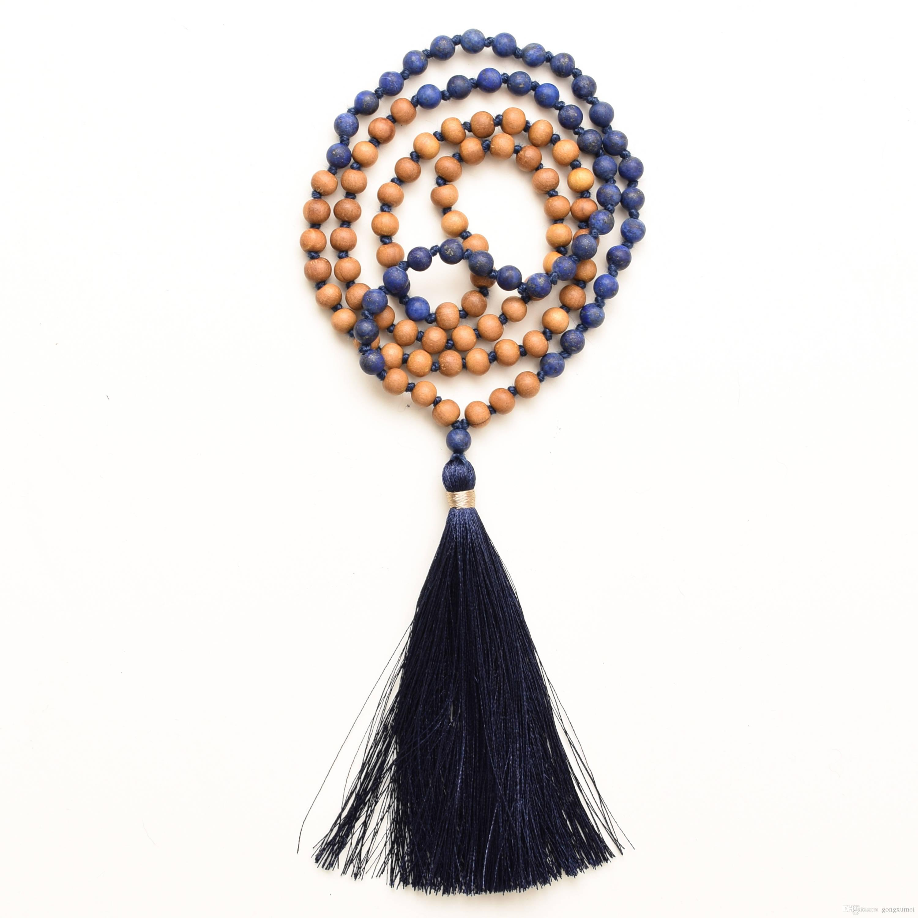 108 Lapis Lazuli Mala Necklace with wood beads Lapis Lazuli Necklace wood beads Mala Necklaces Boho Necklaces Hand Knotted