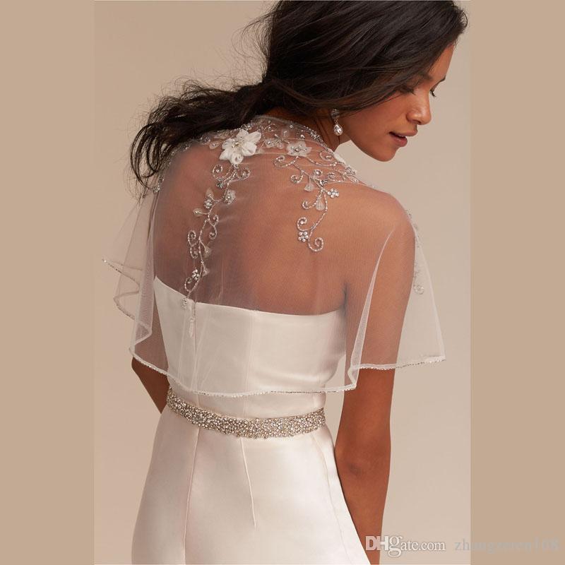 Luxury Ivory Flower Beaded Edge Bridal Shawl 2018 with Crystal Wedding Bolero Tulle Coats Jackets Capes Wedding Accessories