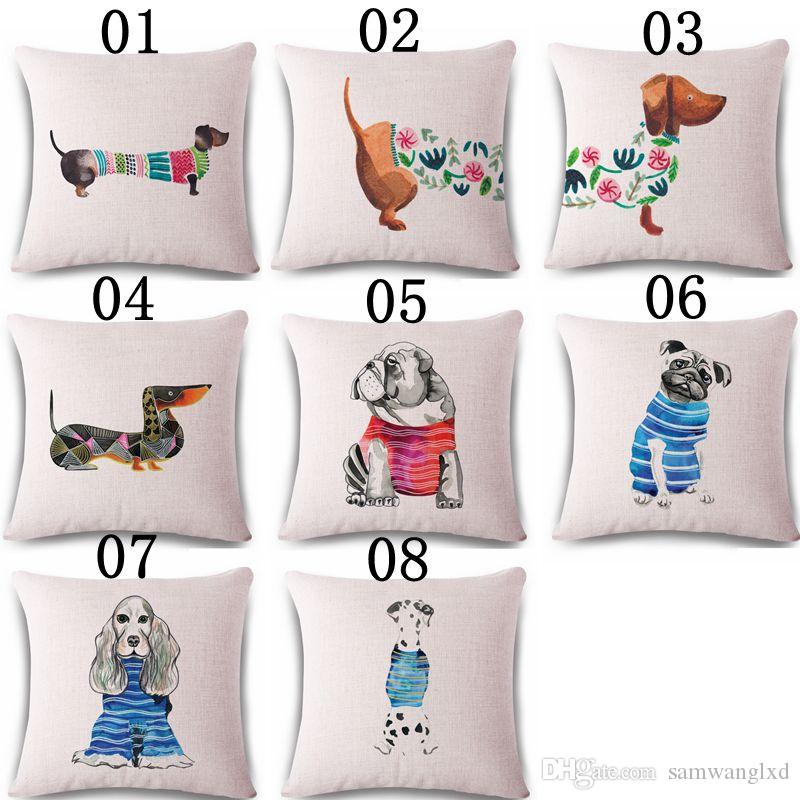 cb162a7ef5a6 Square 18 Cotton Linen Cute Dachshund Dogs Office Chair Back Waist Cushion  Cover Fashion Couch Seat Pillow Case Outdoor Patio Chair Cushions Custom  Patio ...