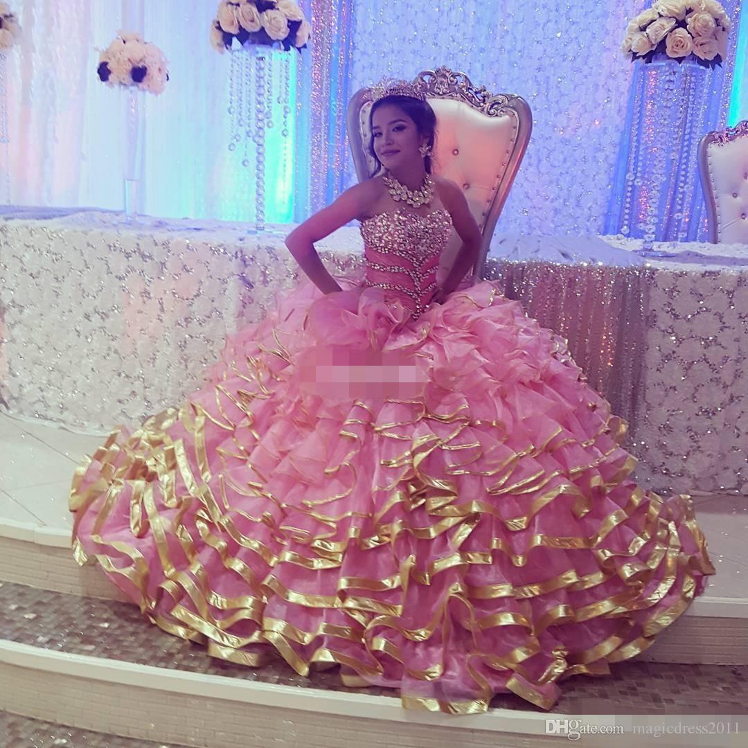 Custom Made Pink Sweet 16 Quinceanera Dresses Sweetheart Ruffle Train Corset Back Beading Vestidos De 15 Anos Debutante Gowns Plus Size 2019