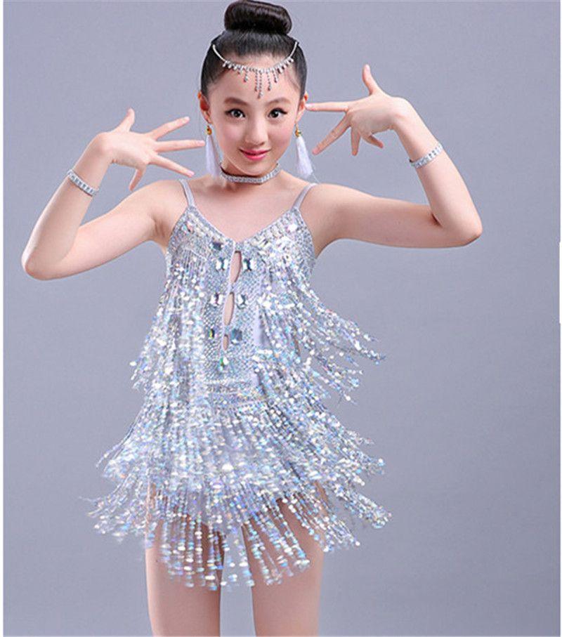 0f3a3a40f5fe8 2019 New Children Kids Girls Latin Dance Dress Sliver Sexy Halter  Rhinestone Sequin Tassel Chacha Tango Ballroom Costumes Practice Dance Dress  From ...