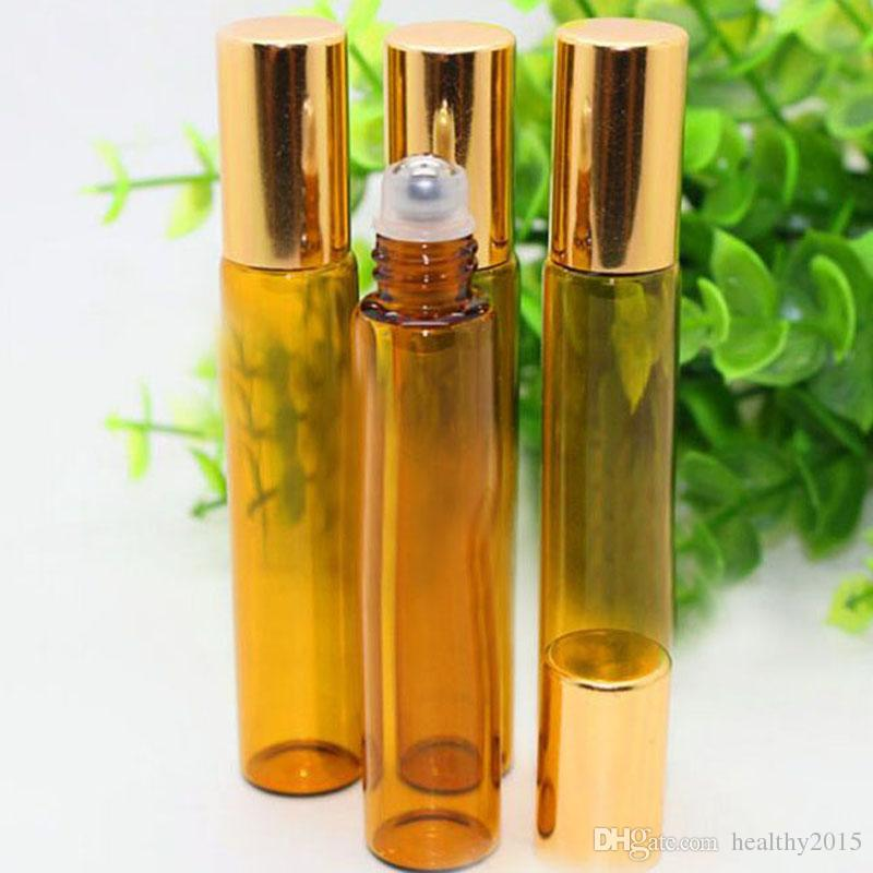 Refillable Bottles 10ml Glass Roll on Bottles Aromatherapy Essential Oil Roller Bottles With Metal Ball And Black Cap