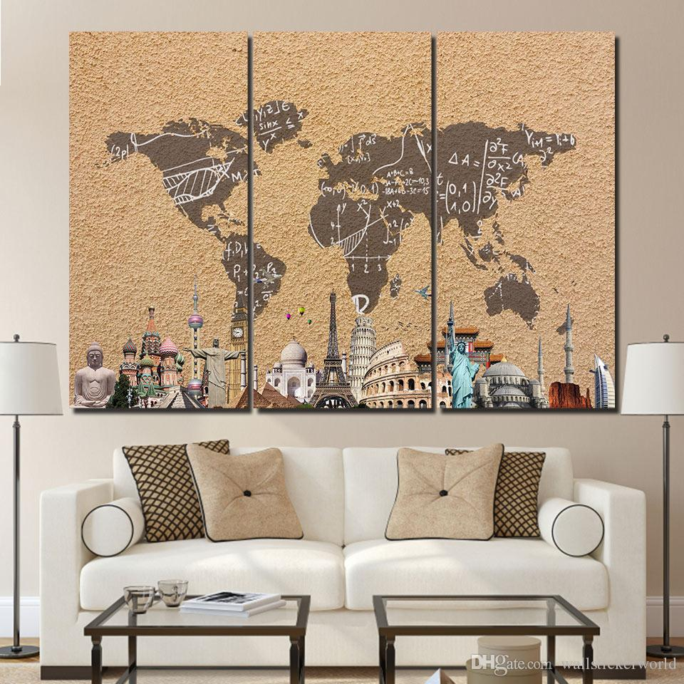 3 Panel HD Printed Framed Vintage World Map Building Wall Canvas Art Modern Print Painting Poster Picture For Home Decor