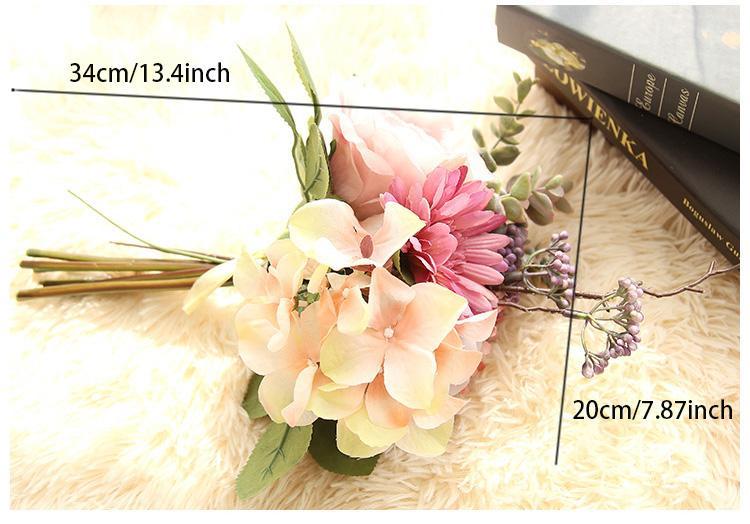 Trasporto libero all'ingrosso di seta artificiale sposa bouquet di fiori gerbera margherite africane ortensia camera da letto di nozze o decorazione della tavola