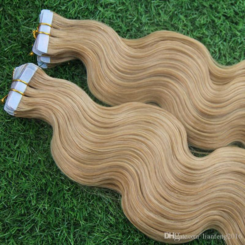 Remy Brazilian Tape In Human Hair Extensions #613 Bleach Blonde 7A Unprocessed Skin Weft PU Hair Brazilian Body Wave Virgin hair