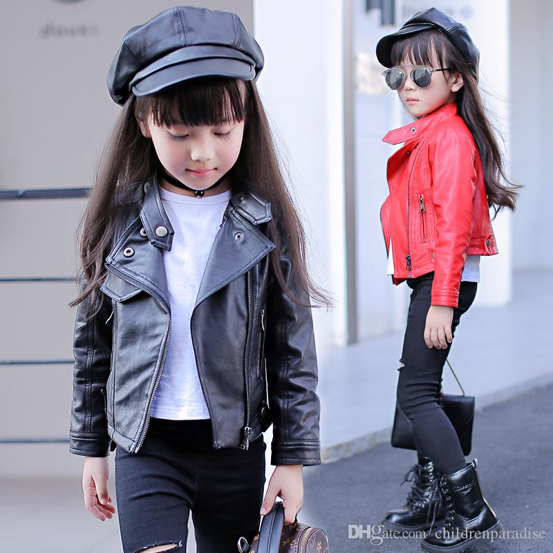 2017 New Children Leather Jackets Spring & Autumn Kids Solid Turn-down Collar Coats PU Clothes for Girls,