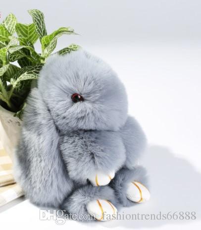 New Pom Pom Mini Car Rex Play Dead Rabbit Key chain Fur Car Backpack Rabbit Doll Pendant Fashion Toys Wallet Handbag Bag Pendant