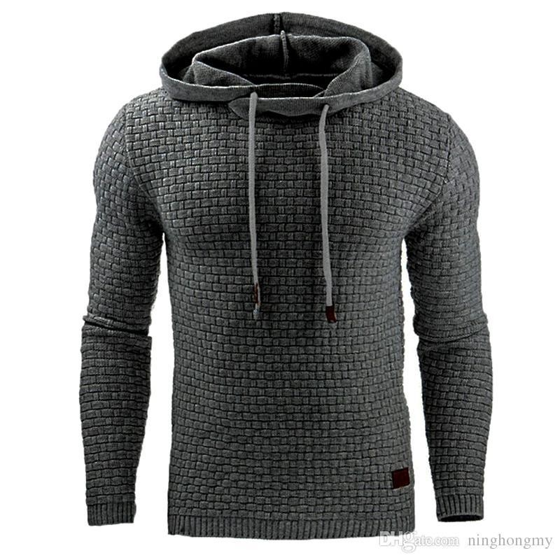 2019 NOVA Moda masculina Moletom Com Capuz Sólidos Moletons Coelho Gola de Cabelo plus size Casaco dos homens dos homens Casacos homens outwear preto S-XXXXL