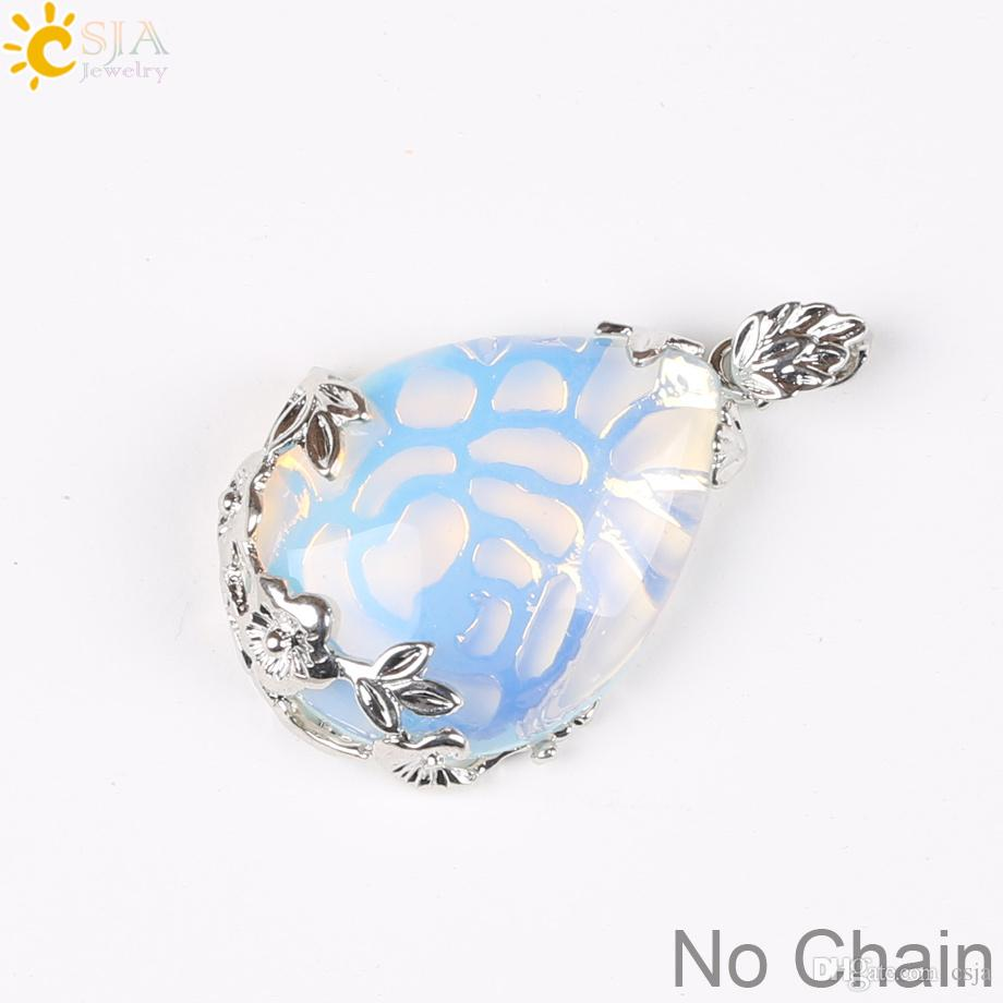 CSJA Fashion Jewelry Shopping Online Women Natural Pink Rose Quartz Stone Charms Pendant for Necklace Water Drop Jewellery Love Gift E082 A