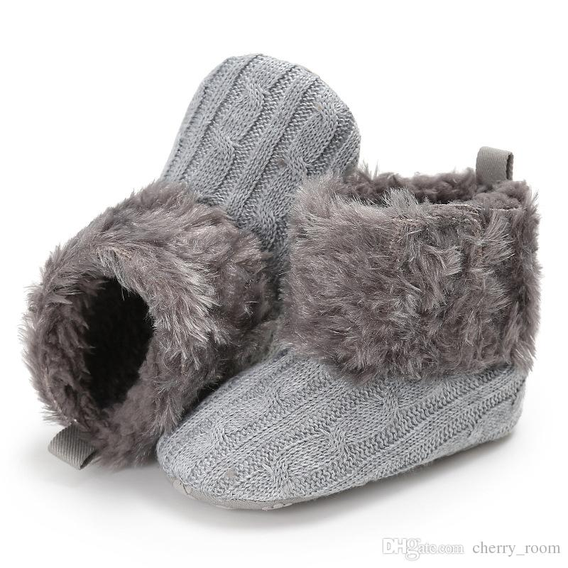 Baby Girls Boots Winter Knit Warmth Infant First Walker Shoes Cute Cotton Toddler Fabric Shoes Newborn Warm Fur Plush Boots C1601