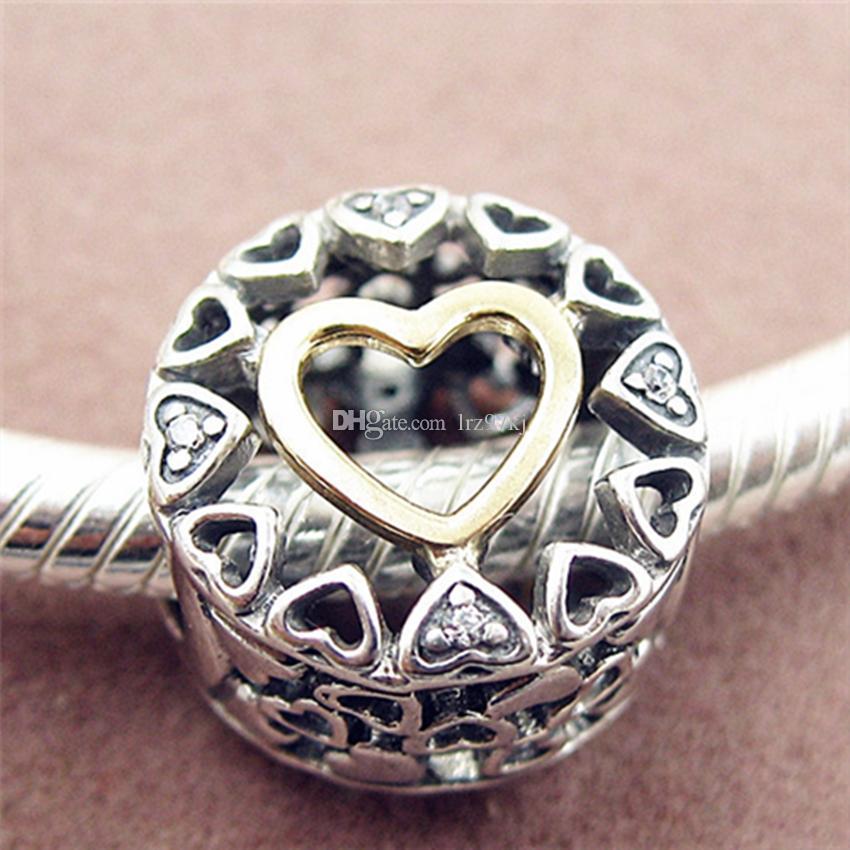 7313c2f33 Acheter S925 Sterling Silver 14K Réel Or Loving Circle Perle De ...