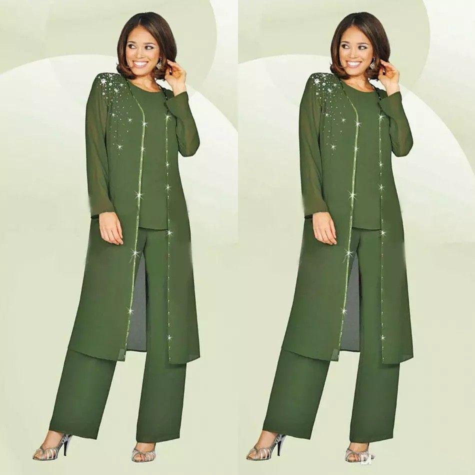 Vert Plus Size Mère De La Mariée Pantalon Costume Avec Longue Veste Pour Mariages Outfit De Mère Robe De Mariage Invité