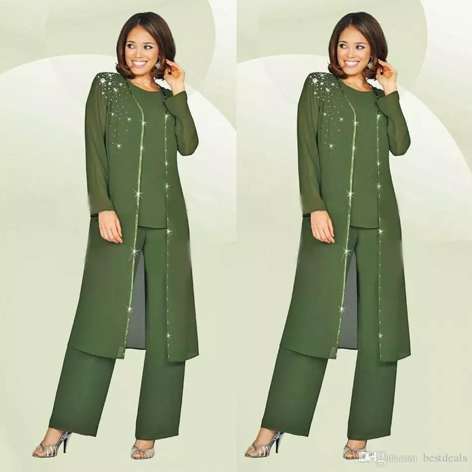 Yeşil Artı Boyutu Anne Gelin Pantolon Takım Elbise Uzun Ceket Ile Düğün Için annenin Damat Kıyafet Boncuk Düğün Konuk Elbise