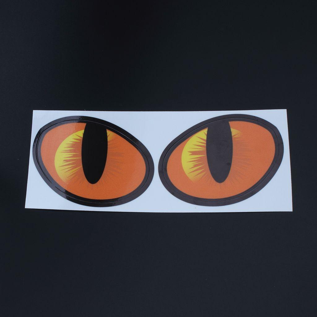 Paire d'autocollant de décalque de simulation yeux de chat 3d pour le décor de mur de fenêtre de véhicule de camion de voiture