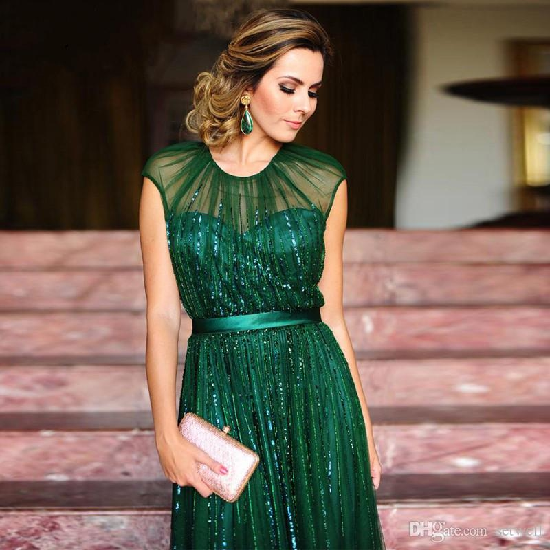 2017 A-line Elegant Emerald Green Long Evening Dress With Slim Belt O-neck Beaded Tulle Floor Length Women Formal Occasion Dress
