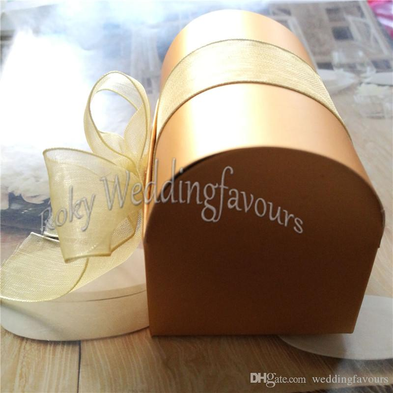 Golden Treasure Chest Box Favors with Organza Ribbon Bow Candy Boxes Favors Holder Wedding Favours Event Gift Package