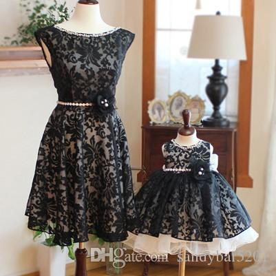 Wedding Birthday Lace Dress Mother Daughter Tulle Dresses 2017 Mom And Me Black Matching Women Bow Girls Tutu S462 Baby Girl