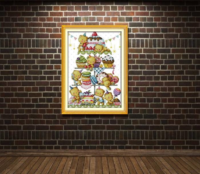 Dolce orsetto, fai da te fatto a mano punto croce set cucito kit di ricamo dipinti contati stampati su tela DMC 14CT / 11CT