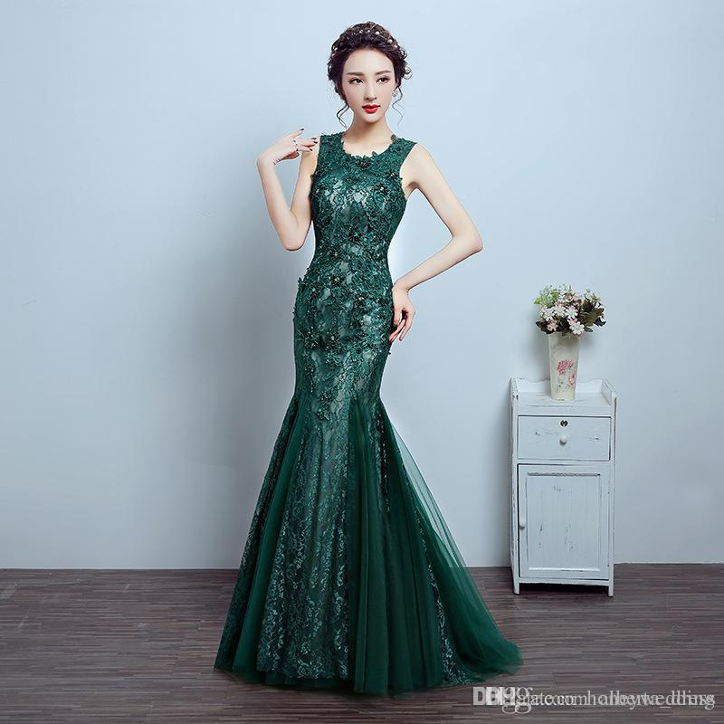 f3f7f44ff40 Mermaid Evening Dresses 2017 Emerald Green Formal Dress Mother Of The Bride  Lace Tulle Party Dress Cheap 2018 New Formal Wear Modest Dresses From ...