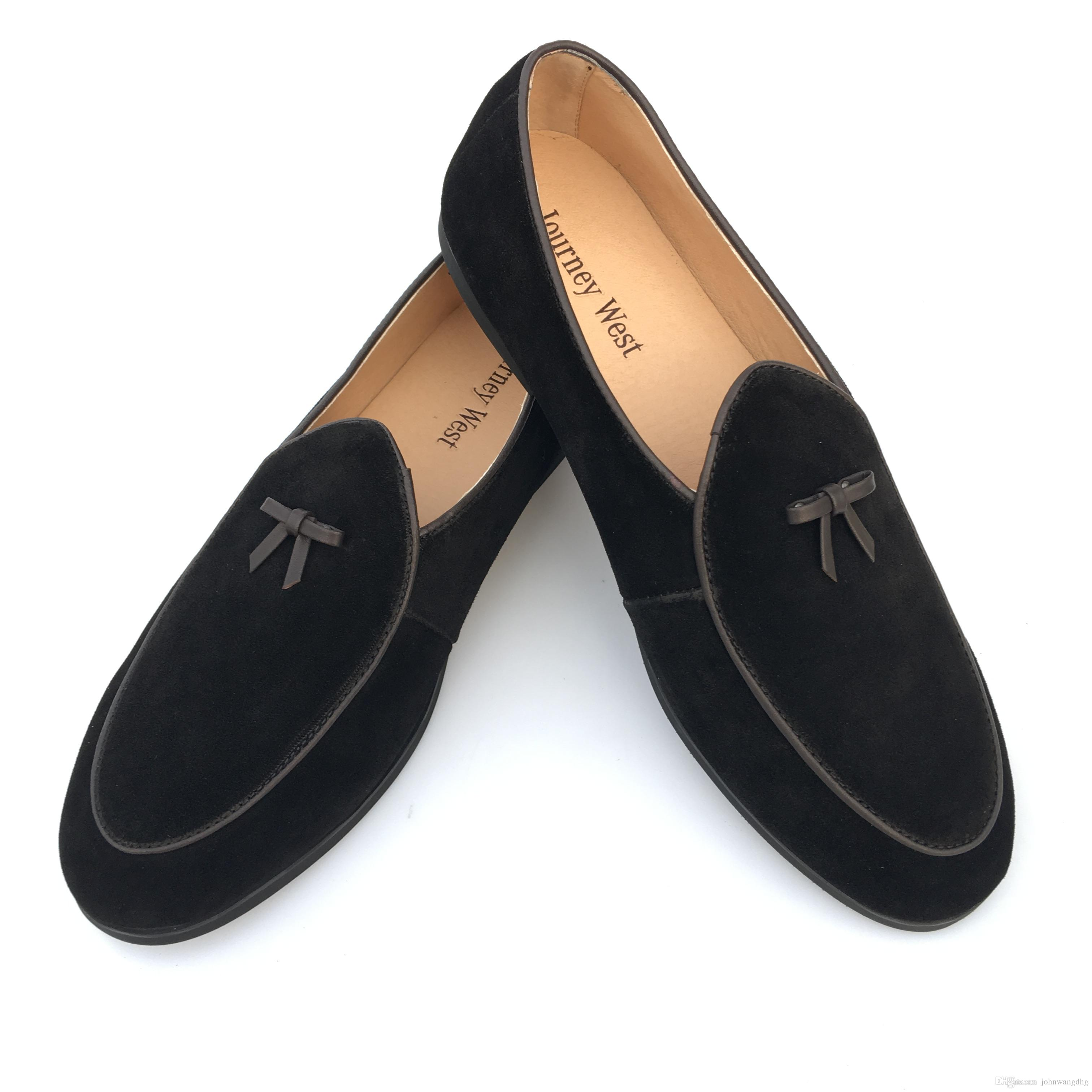 937653db7034fb New Fashion Mens Suede Leather Slippers Loafers Slip on Belgian Dress Shoes  Men's Flats With Bow Tie Black Brown Casual Shoes