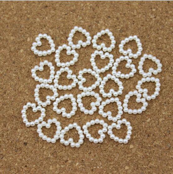Yeni Tasarım Beyaz Inci Boncuk Şekilli Kalp DIY Firkete Aksesuarları Inci Telefon Düğün Cardmaking Craft 11mm * 11mm 2016 SıCAK