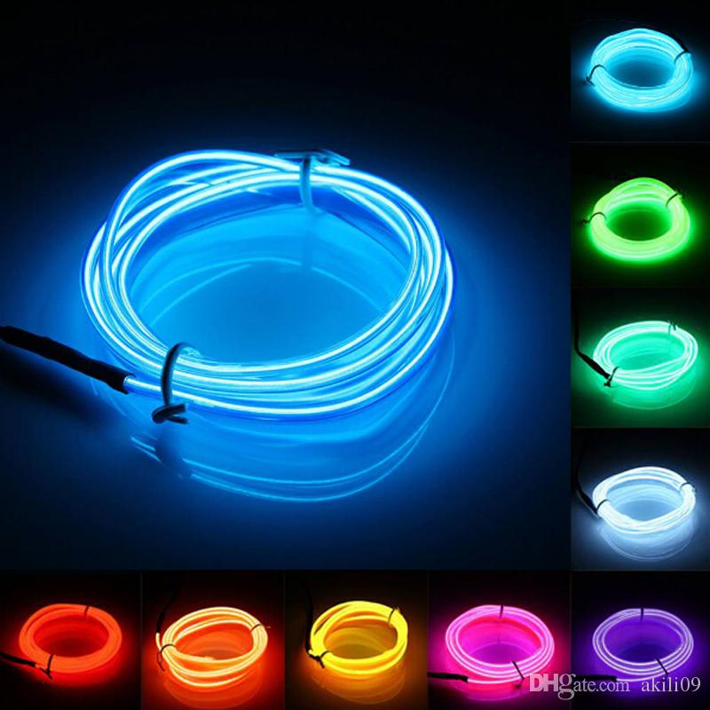 2018 2m Flexible Neon Light Glow El Wire Rope Tape Cable Strip Led ...