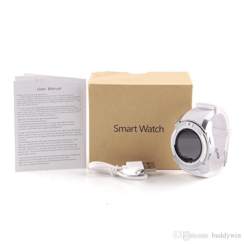 V8 Smart Watch Спортивные Bluetooth SmartWatch с полным круглым экраном 0.3M камера MTK6261D Поддержка Android Micro Sim TF карта с розничной упаковке
