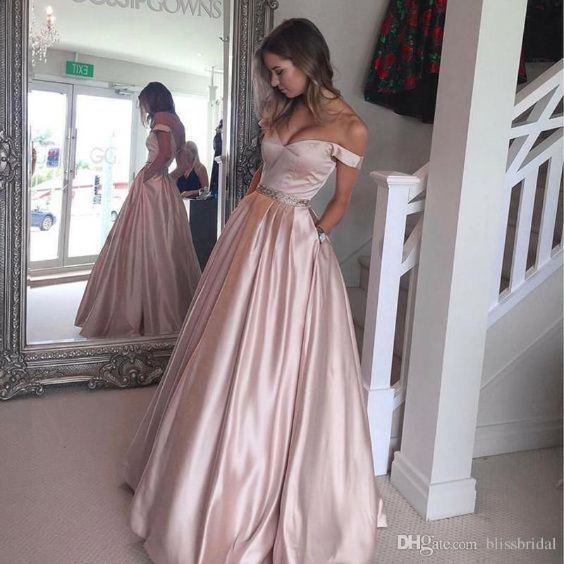 9092d8c78b0 A Line Off Shoulder Prom Dress Ball Gown Elegant Blush Satin Evening Dresses  Beaded Peplum Floor Length Zipper Back Homecoming Dress Plus Size Prom Dress  ...