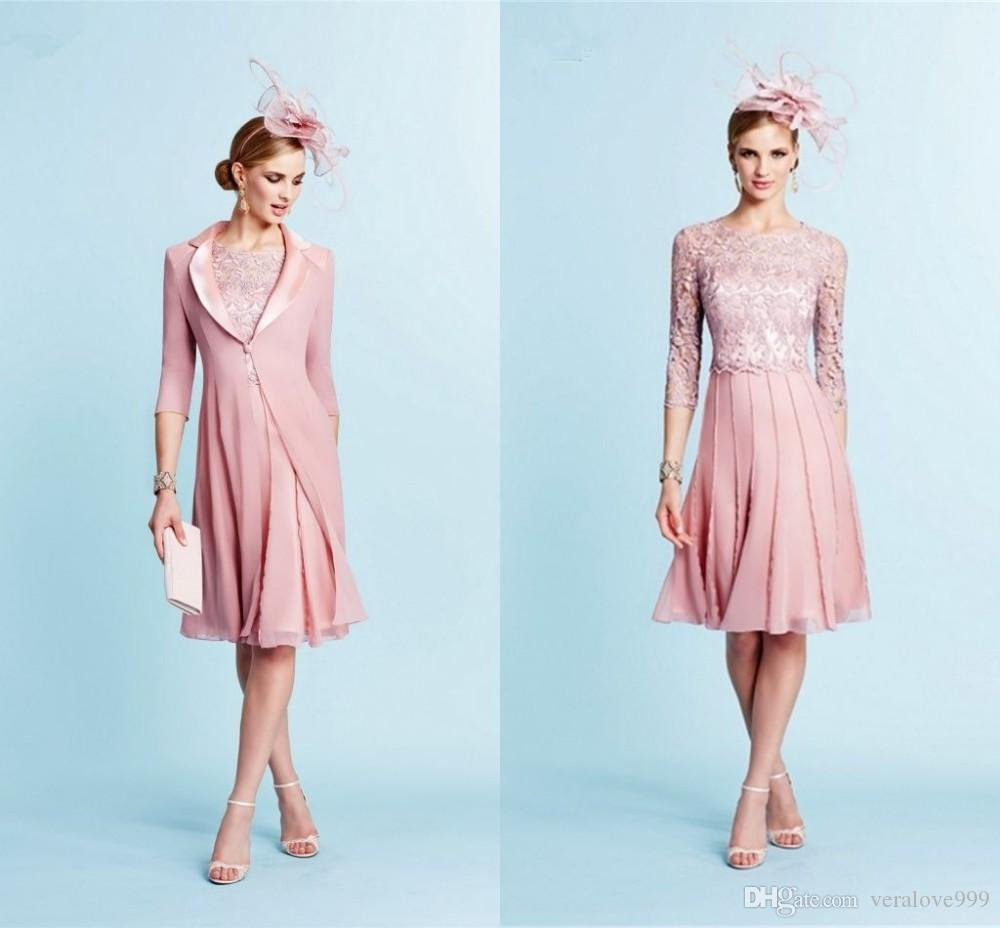 Modest Pink Mother Of The Bride Dresses With Long Jacket Lace Top